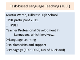 Task-based Language Teaching (TBLT)