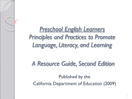 Preschool English Learners Principles and Practices to