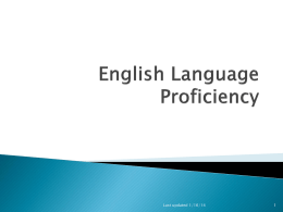 English Language Proficiency - OGAPS