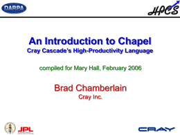 The Chapel Language - College of Engineering IT Support