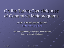 On the Turing-Completeness of Generative Metaprograms