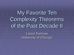 My Favorite Ten Complexity Theorems of the Past …