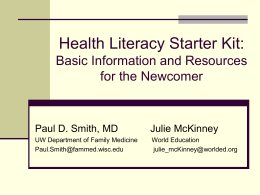Health Literacy: Practical Tools for Improving Communication