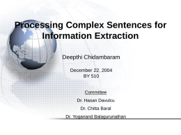 Processing Complex Sentences for Information Extraction