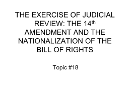 THE EXERCISE OF JUDICIAL REVIEW: THE 14th …