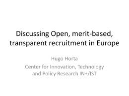 Discussing Open, merit-based, transparent recruitment