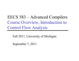 EECS 583 - Advanced Compilers