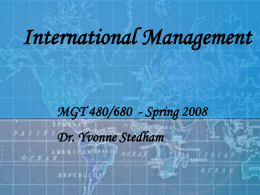 International Management - University of Nevada, Reno