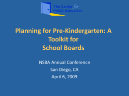 Planning for Pre-Kindergarten: A Toolkit for School …