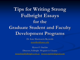 Tips for Writing Strong Fulbright Essays