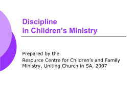 Discipline in Children's Ministry
