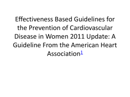 Effectiveness Based Guidelines for the Prevention of