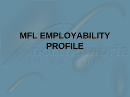MFL EMPLOYABILITY WEEK - Northumbria University