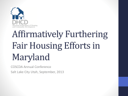 Affirmatively Furthering Fair Housing in Maryland