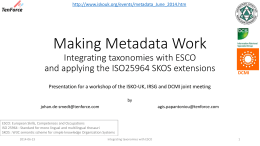 ESCO - Making metadata work