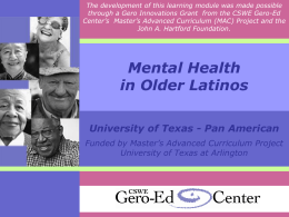 Mental Health Care in Older Latinos