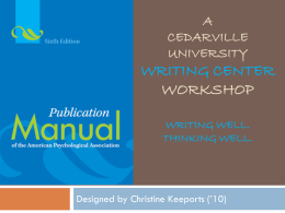 CEDARVILLE University WRITING CENTER