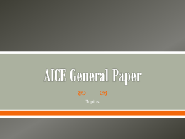 AICE General Paper - Mr. Furman's Web Pages