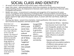 SOCIAL CLASS AND IDENTITY 2