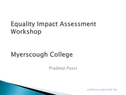 Equality Impact Assessment Workshop Myerscough College