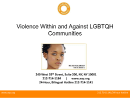 Working with LGBTQ Survivors Intimate Partner Violence
