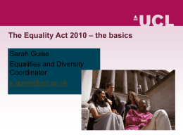 Equality Act 2010 presentation