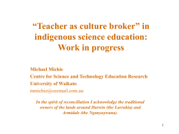 "Teacher as culture broker"" in indigenous science …"