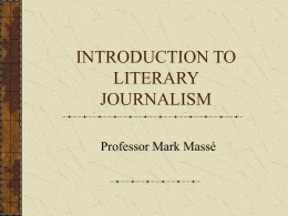 INTRODUCTION TO LITERARY JOURNALISM