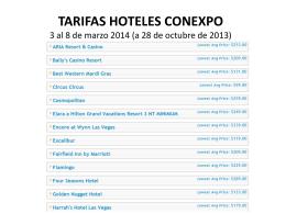 TARIFAS HOTELES CONEXPO 3 al 8 de marzo 2014 (a 28 …