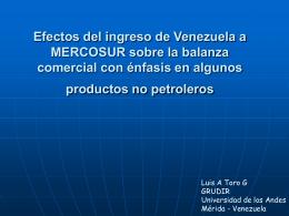 El Comercio de Venezuela en MERCOSUR