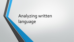 Analyzing written language