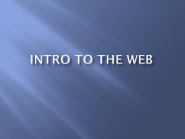 Intro to the Web - Woodland Hills School District