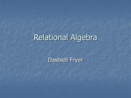 Relational Algebra - SJSU Computer Science Department