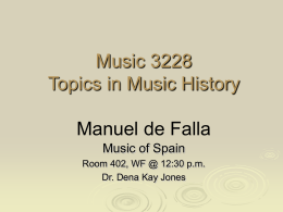 Music 3228 Topics in Music History