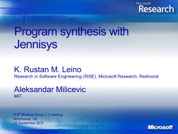 Program synthesis with Jennisys