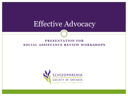 Effective Advocacy - Social Assistance Review