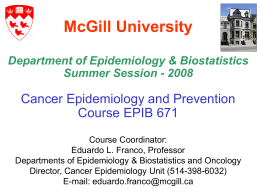 Slides for Course EPIB 671