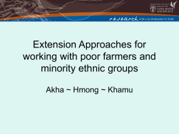 Extension Approaches for Lao Ethnic groups