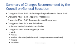 Summary of Changes Recommended by the Council on …
