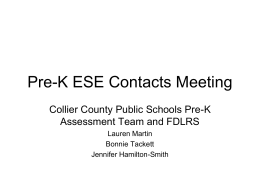 Pre-K ESE Contacts Meeting