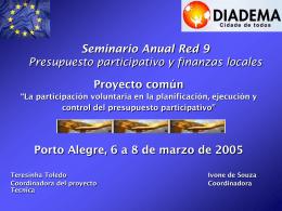 Seminario Anual Red 9 Presupuesto participativo y …