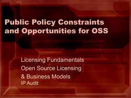 Public Policy Constraints and Opportunities for Open Source