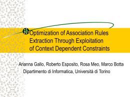 Optimization of Association Rules Extraction Through