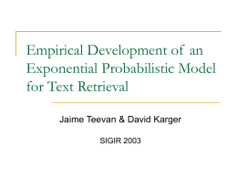 Empirical Development of an Exponential Probabilistic