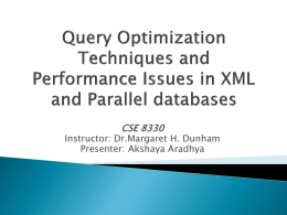 Query Optimization Techniques and Performance Issues …