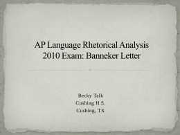 AP Language Rhetorical Analysis 2010 Exam: Banneker …
