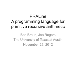 PRALine A programming language for primitive recursive