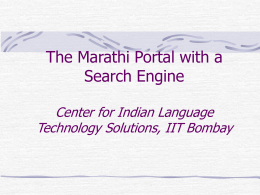 Marathi Search Engine Center for Indian Language