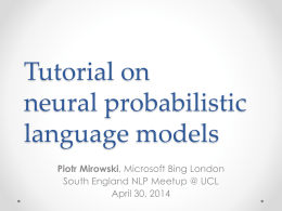 Tutorial on neural probabilistic language models