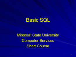 Basic SQL - Log In - Computer Services